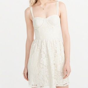 Abercrombie Ivory lace corset dress